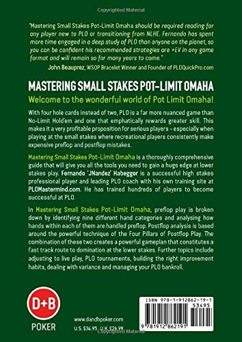 """Mastering Small Stakes Pot-Limit Omaha, a book by Fernando """"JNandez"""" Habegger - Back Cover."""