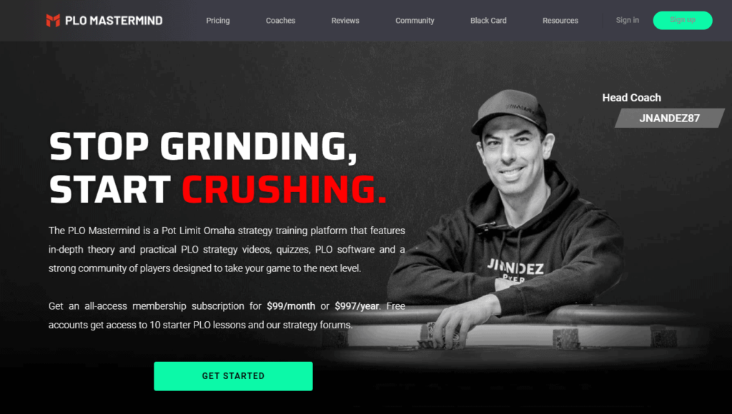 A screenshot of the PLO Mastermind training site landing page.