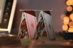 A house of cards representing mental game in poker.