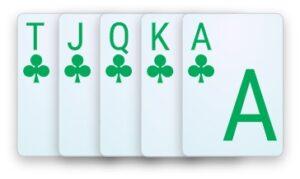A royal flush poker hand.