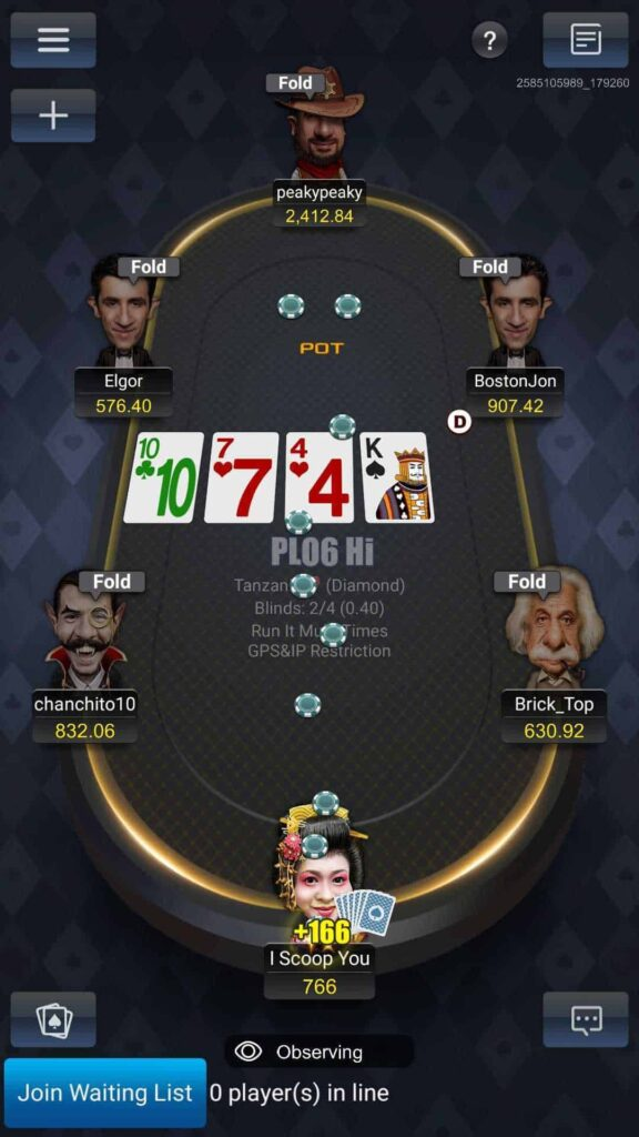 PokerBros poker table screenshot