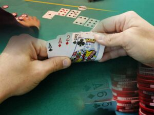 A paired-Ace hand in PLO.