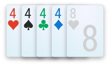 A four of a kind poker hand.