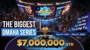 The Omaholics series on GG Poker banner, featuring JNandez and Sasha Liu.