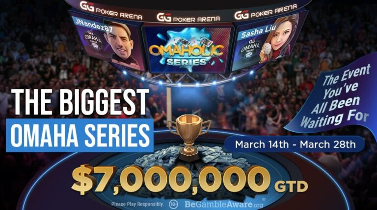 The Omaholics series on GG Poker banner, featuring JNandez and Sasha Liu.