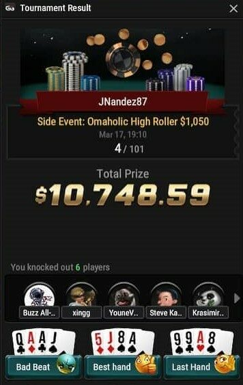 JNandez wins 4th place in Omaholics High Roller $1,050