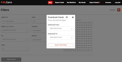 Download hands window in PartyPoker's MyGame menu.