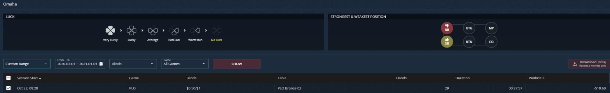 GGPoker's PokerCraft filter section