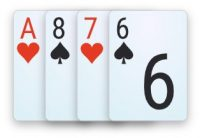 A double-suited connected hand in 4-card Omaha poker.