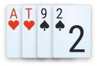 A double-suited disconnected hand in 4-card Omaha poker.
