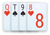 A double-suited semi-connected hand in 4-card Omaha poker.
